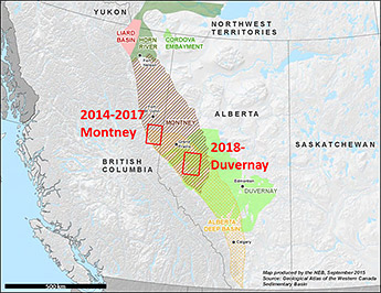 Figure 1. Map of western Canada showing outlines of the Montney Formation and Duvernay Formation as well as study areas. Figure from Knapp et al. (2020).